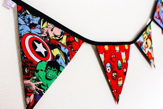 Fabulous handmade bunting made from high quality Marvel fabrics. Features all your favourite superheroes such as Spiderman, Wolverine, Captain