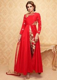 Party Wear Red Banglori Silk Embroidered Work Anarkali Suit