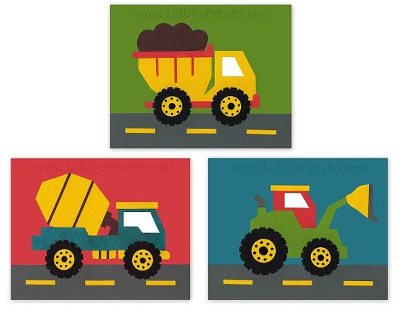 Perfect trio, construction theme, truck, tractor, blue, green, red, transportation, cars, set of 3, Nursery or childrens room artwork via Etsy
