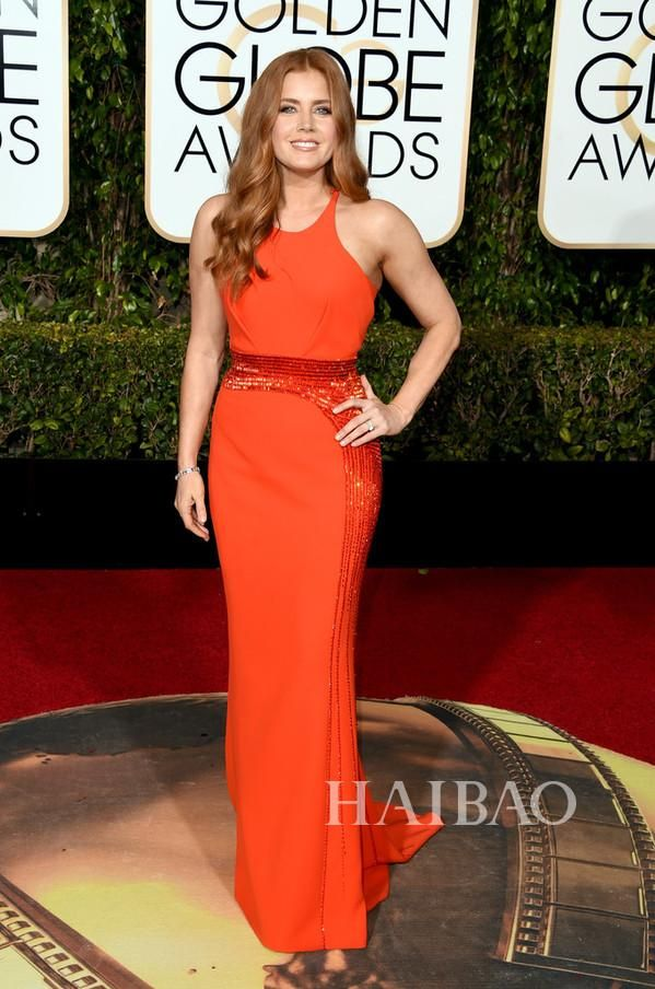 The 73rd Golden Globe Awards 2016 Red Carpet Dresses Amy Adams Orange Sheath Long Evening Prom Gowns Beaded Decoration Simple Cheap Online with $127.23/Piece on Marrysa's Store | DHgate.com