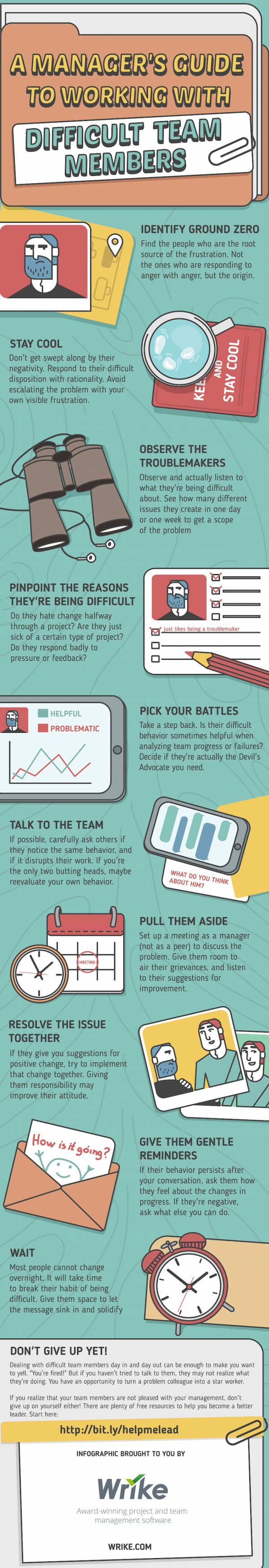 What Are 11 Tips For Managing Difficult Team Members? #infographic Wrike I look 4Ward to your feedback. Keep Digging for Worms! DR4WARD enjoys helping connect students and pros to learn about all forms of communication and creativity. He talks about, creates, and curates content on: Digital, Marketing, Advertising, Public Relations, Social Media, Journalism, Higher Ed, Innovation, Creativity, and Design. Curated global resources can be found here: https://www.rebelmouse.com/dr4...