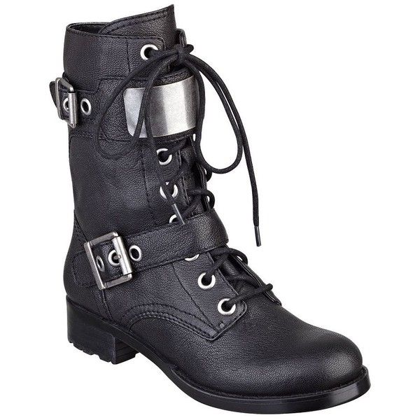 GUESS Ludlow Lace-Up Combat Boots ($84) ❤ liked on Polyvore featuring shoes, boots, ankle booties, combat boots, ankle boots, black leather, lace-up bootie, black lace up boots, black combat boots and lace-up ankle boots