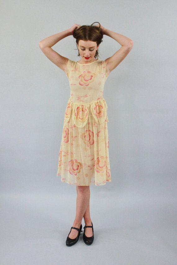 Vintage 1920s Peach Floral Petal Dress / by SarahAndLudoVintage