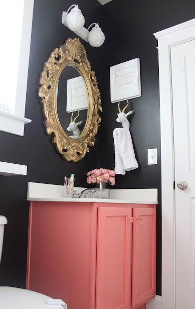 Love the color, great for a daughters/teens bathroom.(: