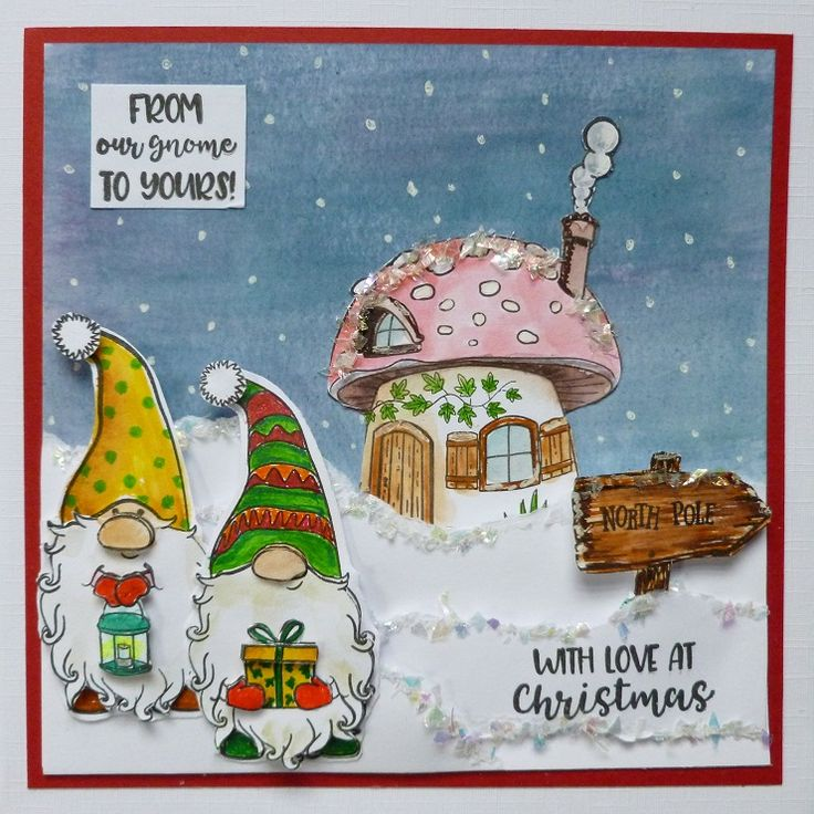 'From Our Gnome to Yours at Christmas' card - Imagination Craft's - Magi-bond glue.  Cracked Ice.  Free Gnome die & stamp set.  White pen.  Stormy sky & Milled lavender Distress Inks.  Promarker pens.  Black ink pad.  December 2017.  Designed by Jennifer Johnston.
