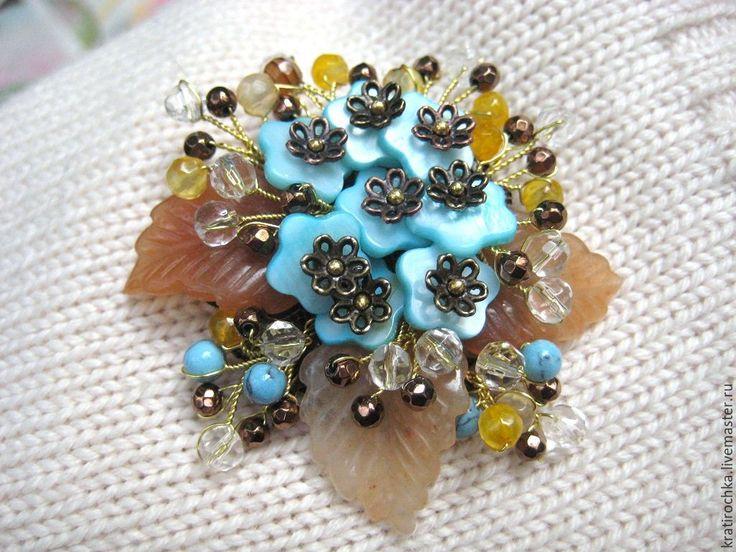 """Купить брошь с натуральными камнями """"Букет незабудок"""" - комбинированный, брошь с камнями, брошь с цветами"""
