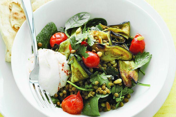 Eggplant and lentil salad with yoghurt dressing http://www.taste.com.au/recipes/18371/eggplant+and+lentil+salad+with+yoghurt+dressing