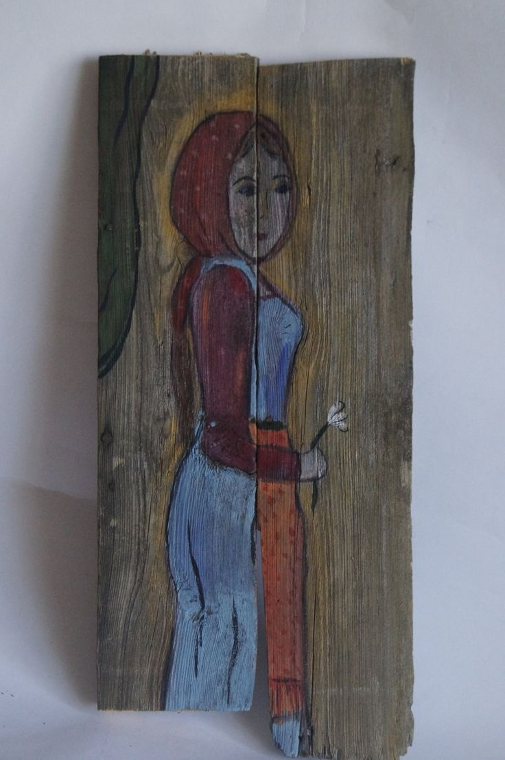 """Painting on old wood """"Russian girl"""" - naive art by RussianStore on Etsy"""