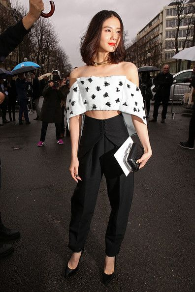 The Best #StreetStyle at Paris Fashion Week // Liu Shishi in a sweet crop top at Balenciaga