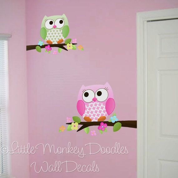 fabric wall decals owls love flowers girls nature forest bedroom playroom baby nursery kids wall art decals