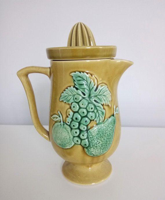 Vintage Ceramic Porcelain Juicer Pitcher