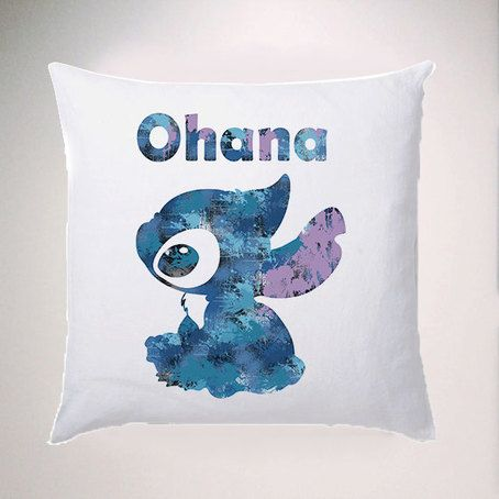 Ohana Lilo and Stitch - Watercolour Cushion Fabric , Water Colour Case Cover or Case & Filling