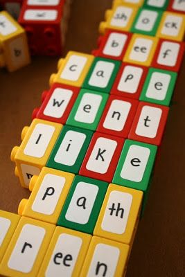 Totally awesome idea from Filth Wizardry: Repurposing Duplo bricks to learn spelling