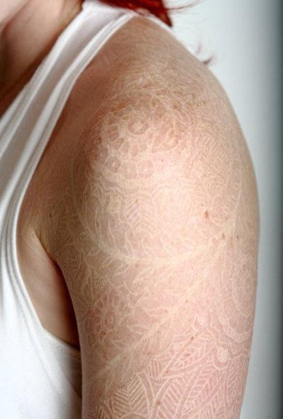 White ink tattoo. - I love this!