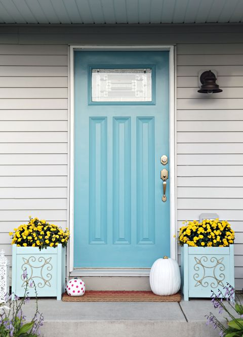 Front Door color: Behr's Harbor.  It is a pretty deep teally blue with a little bit of gray undertone.