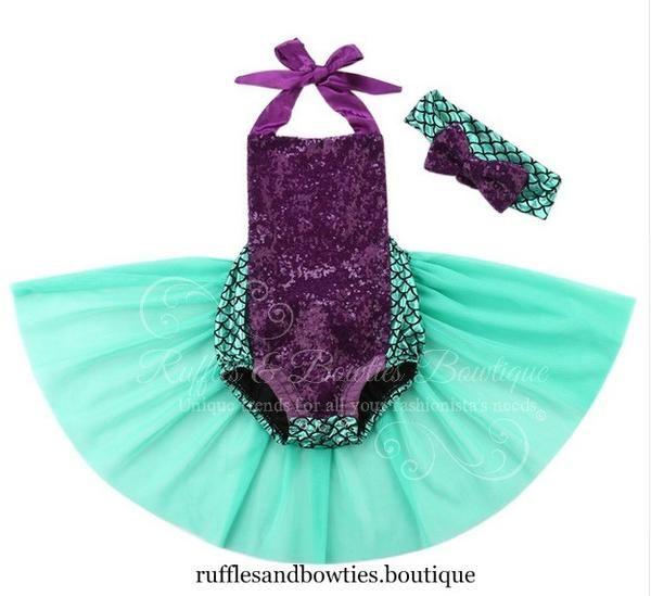Little Mermaid Sequin & Tulle Tutu Romper - Birthday Romper - Merbabe Birthday…