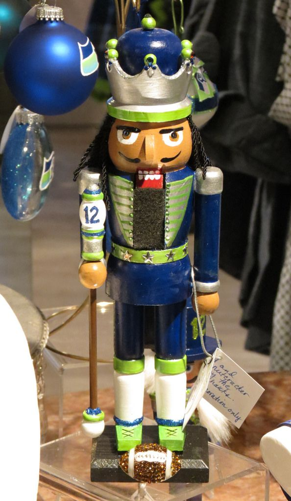 https://flic.kr/p/ApEvaL | Seahawk Display 4 | Part of the display of my Seahawk inspired ornaments, nutcrackers and jewelry for sale at Grassi's Boutique here in University Place, WA.