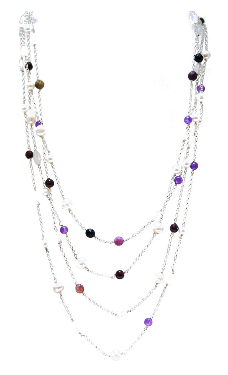 Pastel Rainbow Rocks Gemstone Necklace Multi strands of amethyst, tourmaline and pearls on sterling silver chain