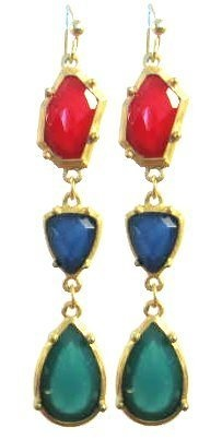 Stone Age Goldtone Fashion Earrings (Red) Maggie T New York