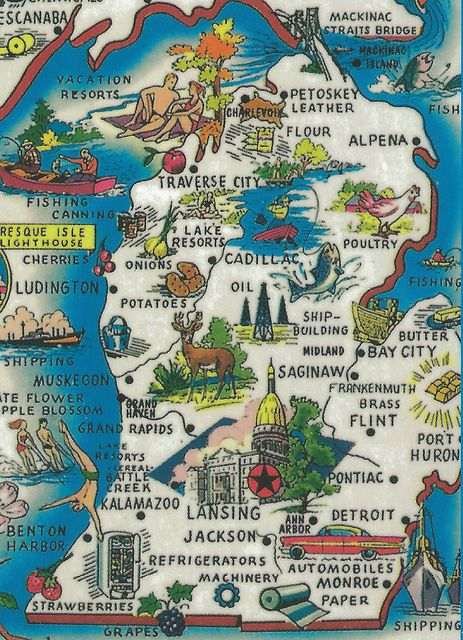 Vintage Michigan History Heritage Travel & Tourism Collectible Map Card Great Production Value and Art GREETINGS FROM MICHIGAN 136 by UpNort...