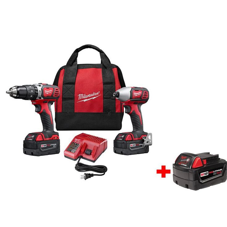 Milwaukee M18 18-Volt Lithium-Ion Cordless Hammer Drill/Impact Driver XC Combo Kit (2-Tool) with Free M18 4.0 Ah XC Battery
