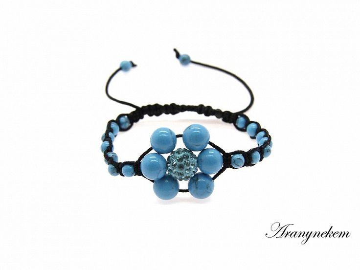 Shamballa virág rekonstruált türkiz féldrágakő karkötő