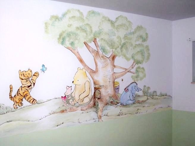 This adorable mural of Pooh, Tigger, Eeyore and Piglet is just the right touch to this nursery.