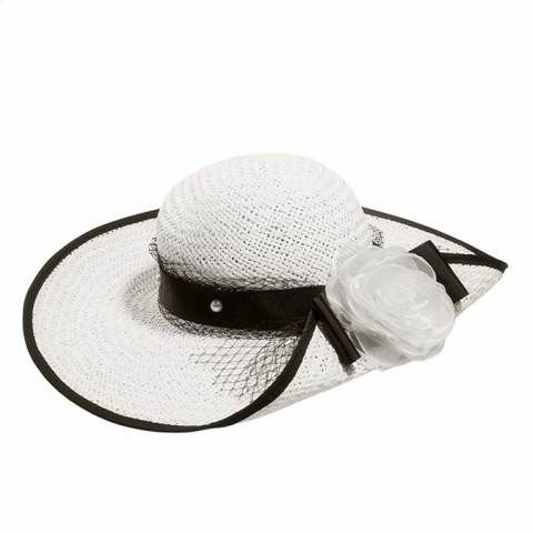 White and black ladies sun hats with flower floppy straw sun hat for summer wear