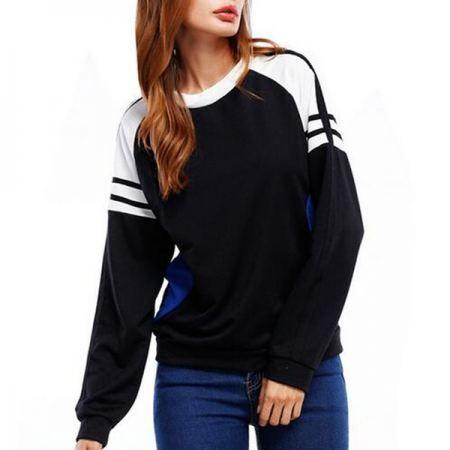 Casual color block sweatshirt for women sports wear