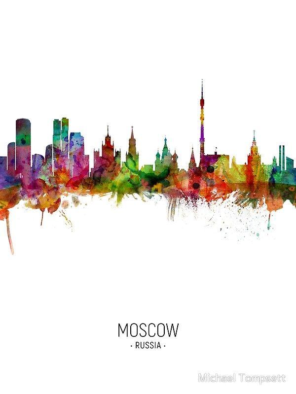 2992 Poster /& Leinwand Postereck Panorama Moskau Skyline Russland Fluss