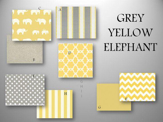 Baby Bedding Crib Quilt and Crib Skirt  Grey Yellow Modern Elephant Set via Etsy