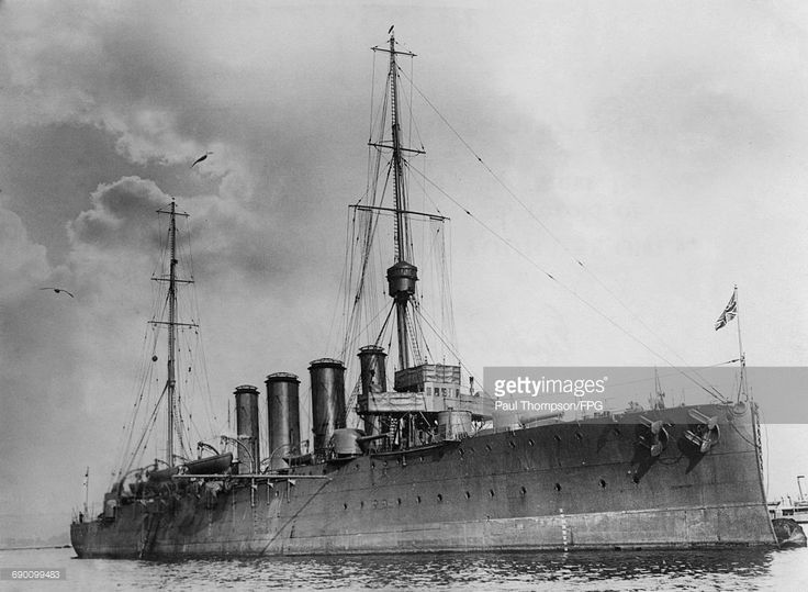 The Royal Navy Town-class light cruiser HMS Weymouth during maneuvers in the English Channel with the Atlantic Fleet circa 1913 off Portsmouth, United Kingdom.