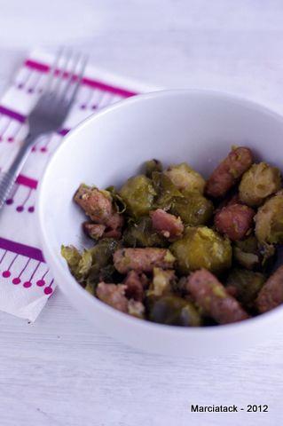 Choux de Bruxelles aux saucisses et châtaignes via @marciatack