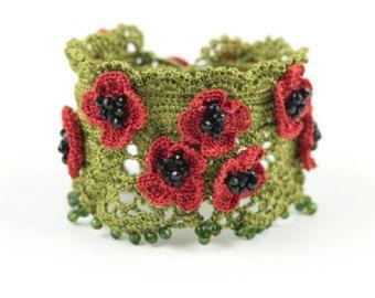 Bracelet-Handmade Crochet Beadwork Luxury by PinaraDesign on Etsy