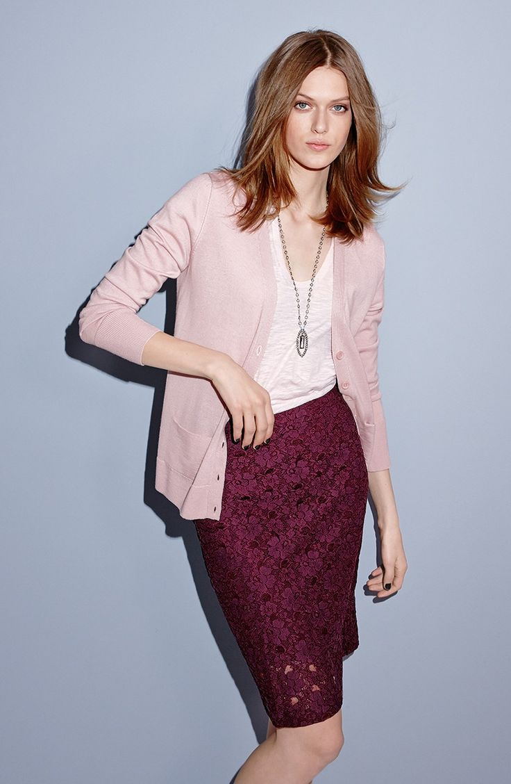 Blush cardigan and burgundy lace pencil skirt