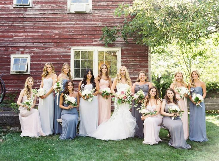 Multicolor neutral bridesmaid dresses in slate, beige, champagne, and off white.  You need at least 7+ ladies to pull off this look in a group. Dresses by Amsale.