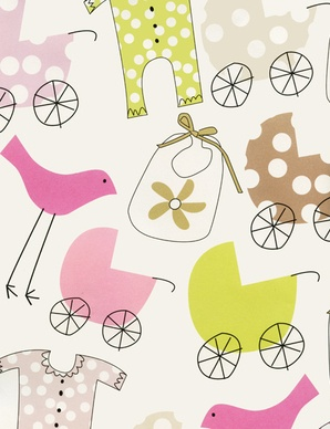 LOVing this sweet pink baby gift wrap from Kate's Paperie!