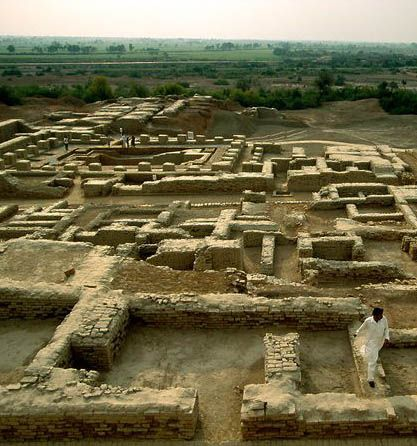 Indian civilization was once believed to date from about 500 B.C., only about 200 years prior to Alexander the Great's invasion of the subcontinent. In the past century, however, the extremely sophisticated cities of Mohenjo Daro (Mound of the Dead, shown above) and Harappa have been discovered in the Indus Valley of modern-day Pakistan. The discoveries of these cities forced archaeologists to PUSH THE DATES for the origin of Indian civilization BACK THOUSANDS OF YEARS.