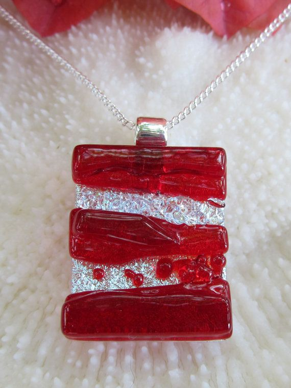 Fused glass pendant, fused glass jewelry, art glass -Red-dichroic textured pendant