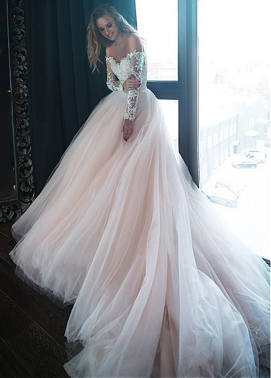 Magbridal Gorgeous Tulle Off-the-shoulder Neckline Ball Gown Wedding Dresses With Beaded Lace Appliques
