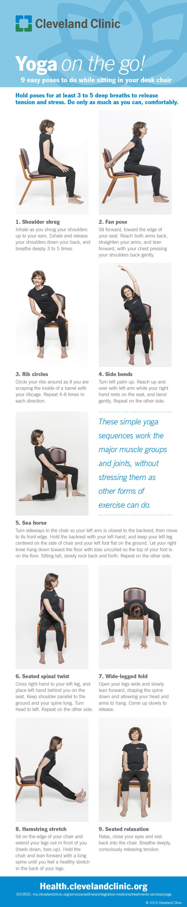 9 easy chair yoga poses to try at work. #infographic
