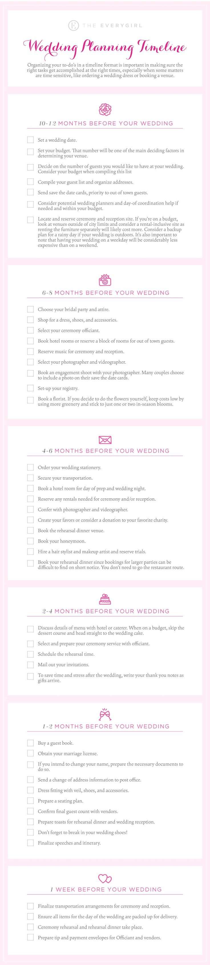 The 12-Month Wedding Planning Timeline #theeverygirl