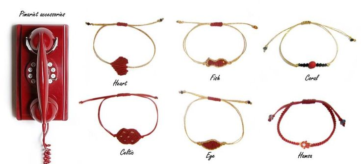 red bracelets heart eye hamsa fish celtic coral