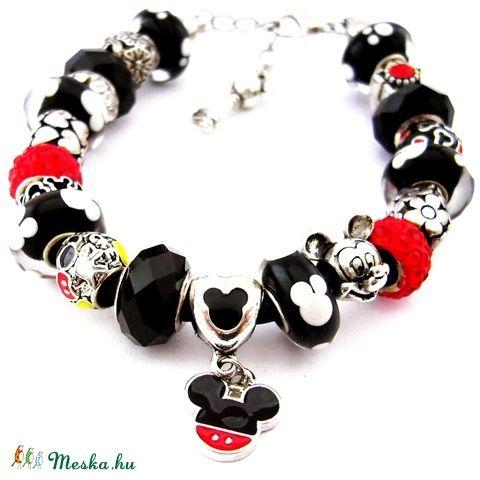Mickey Mouse - fekete fehér piros karkötő pandora stílusban Mickey egérrel (ButterflyJew) - Meska.hu