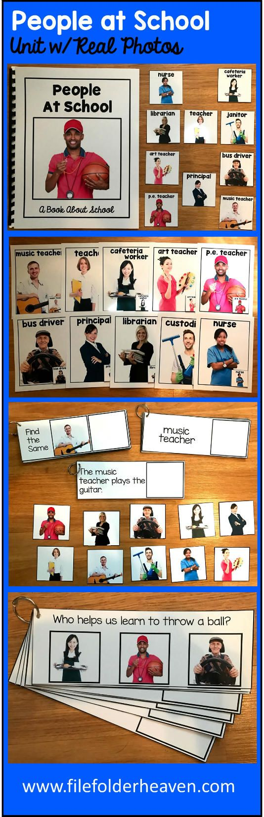 """This People at School Unit w/Real Photos is packed full of hands-on activities for your back to school or people at school theme.  Activities Included With This People at School Unit:  1. Adapted Book (Interactive Book) w/ interactive matching pieces 2. 1 Set of Interactive Bulletin Board People at School Posters (10 total) 3.  Who Goes With What People at School Matching Mat 4   3 Sets of """"Big Flips"""" Matching Activities (Differentiated for 3 levels) 5.  1 Set of People at School…"""
