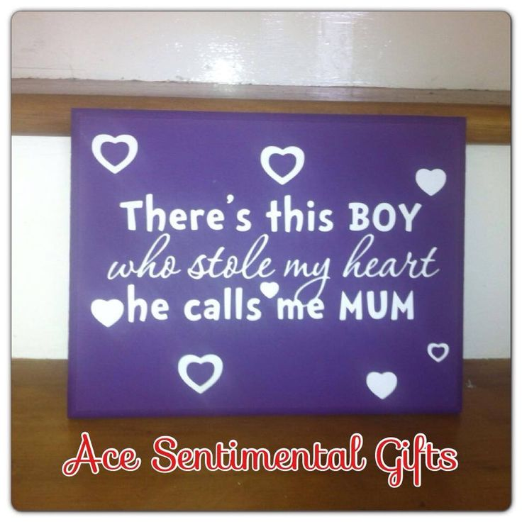 Beautiful and sentimental plaque which would look great in the hallway, son's bedroom or even the kitchen.Reads So there's this boy who stole my heart. He calls me Mum.Available in a range of sizes and colours and we even have a daughters version tooYou have the option to have the plaque read There are these boys or there's this boy. Please add your preference to the personalise box on the right. If no note is left then you will receive there's this boy.