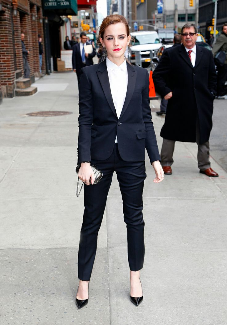 Emma Watson wears a full Saint Laurent suit //