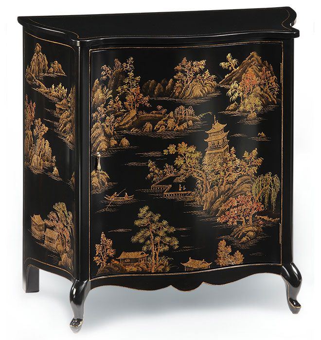 Hand Painted Furniture | Hand Painted Curved Front Cabinet With Chinoserie  Design On An