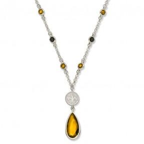 Saints Crystal Fleur-De-Lis Logo Necklace #Saints #Jewelry #NOLA
