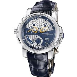 Ulysse Nardin Sonata Cathedral Automatic Watch.  42mm, 18K White Gold, Sapphire Crystal Caseback, Second Time Zone, Alarm Function.